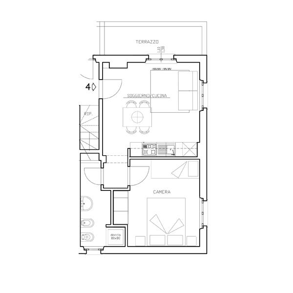 Piantine Appartamento Quattro - Casa di Gino