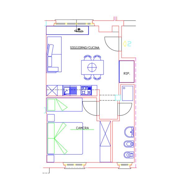 Piantine Appartamento Due - Casa di Gino